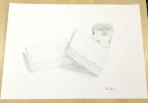 デッサン/木製ブロック、器(中学1年生)